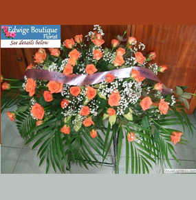 Orange Roses Casket Spray