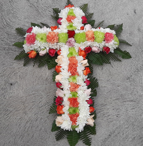 Multicolor Cross Wreath