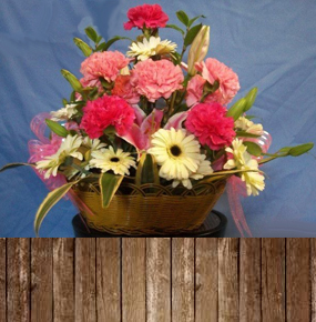 Carnations, Gerberas & Lillies Basket