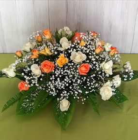 White, Orange & Peach Roses Posy with gypsophila