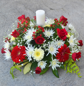 Red Roses, yellow gerberas & white chrysanthemums Candle Centerpiece