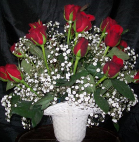 18 Red Roses in a white basket