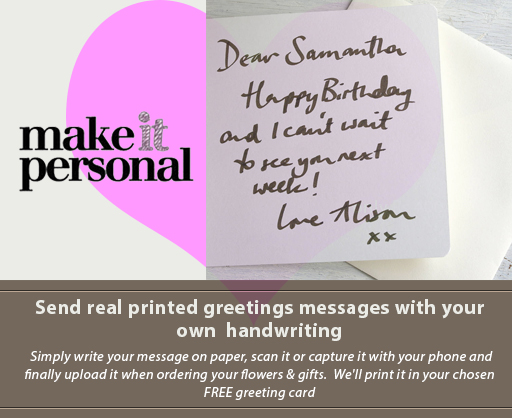 Send real printed greetings message with your own handwriting